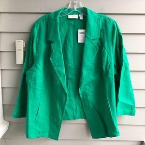 CHICO'S Draped Linen Blazer XL 16 (3) NWT